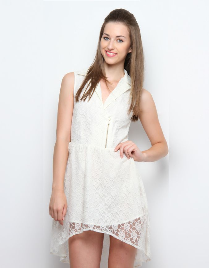 Biker Lace Dress Cream