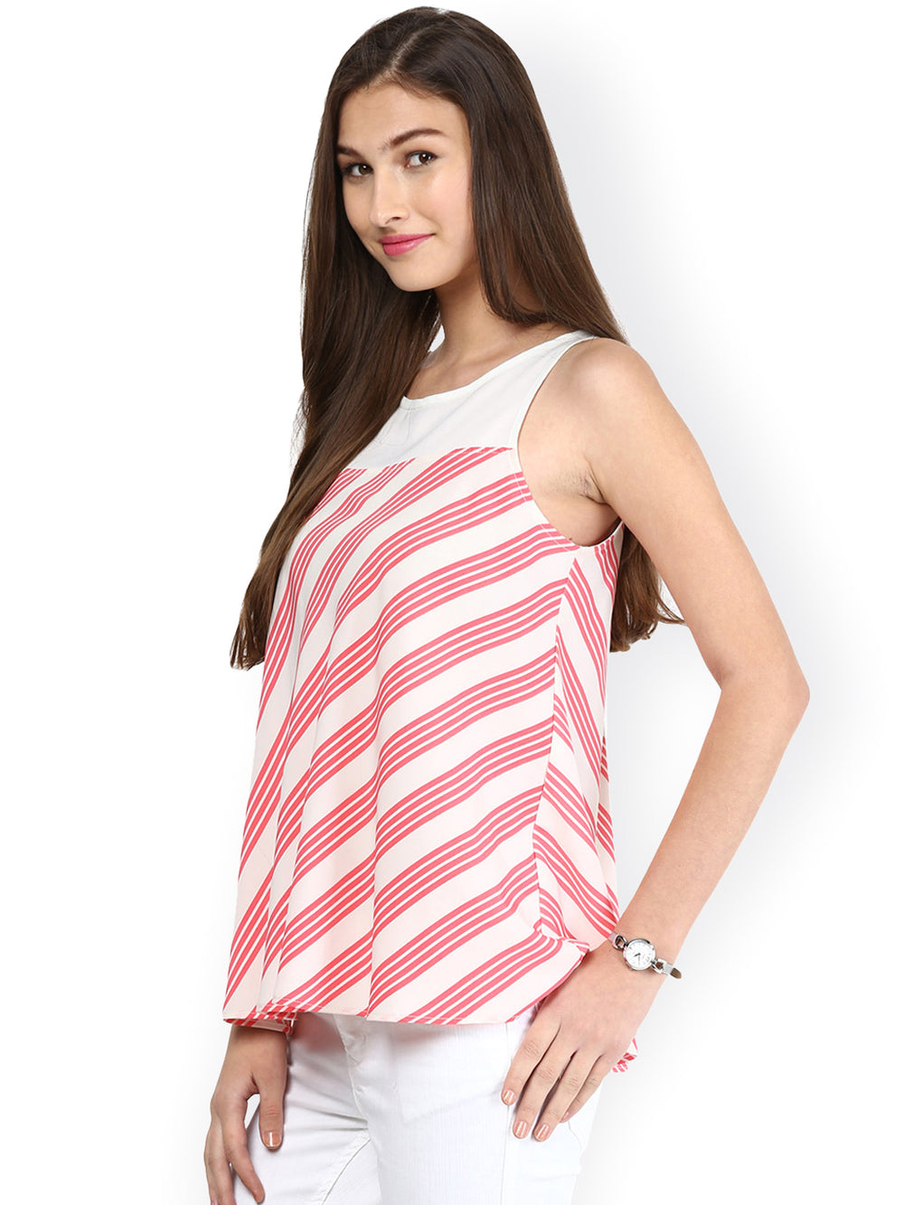 Besiva White & Pink Striped Top