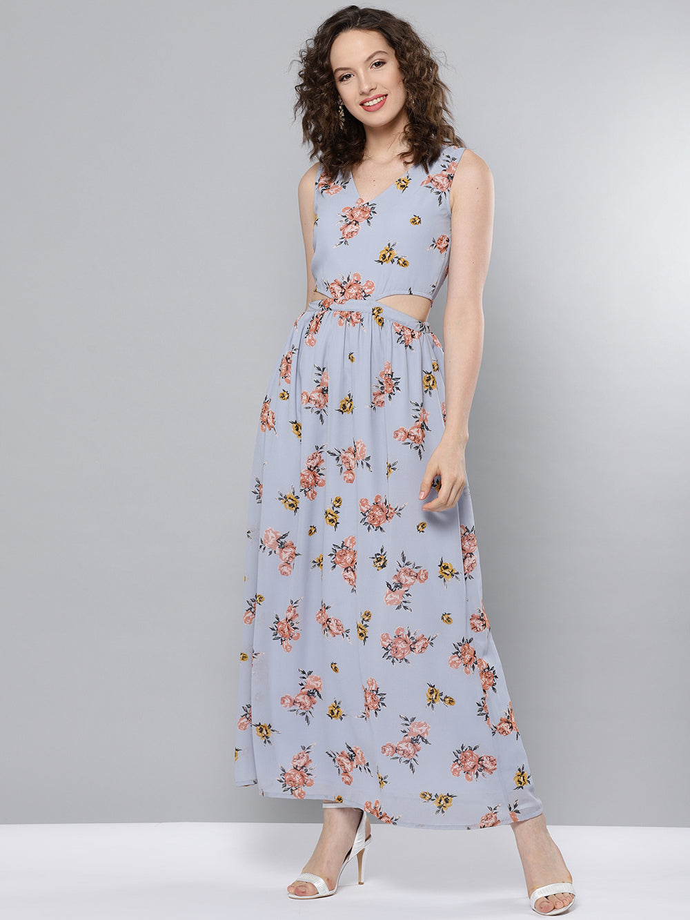 Besiva Women Blue & Peach-Coloured Printed Maxi Dress