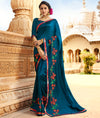 Roop Kashish Women Blue Party Wear Silk Saree With Border And Raw Silk Blouse Material_RKPF5863