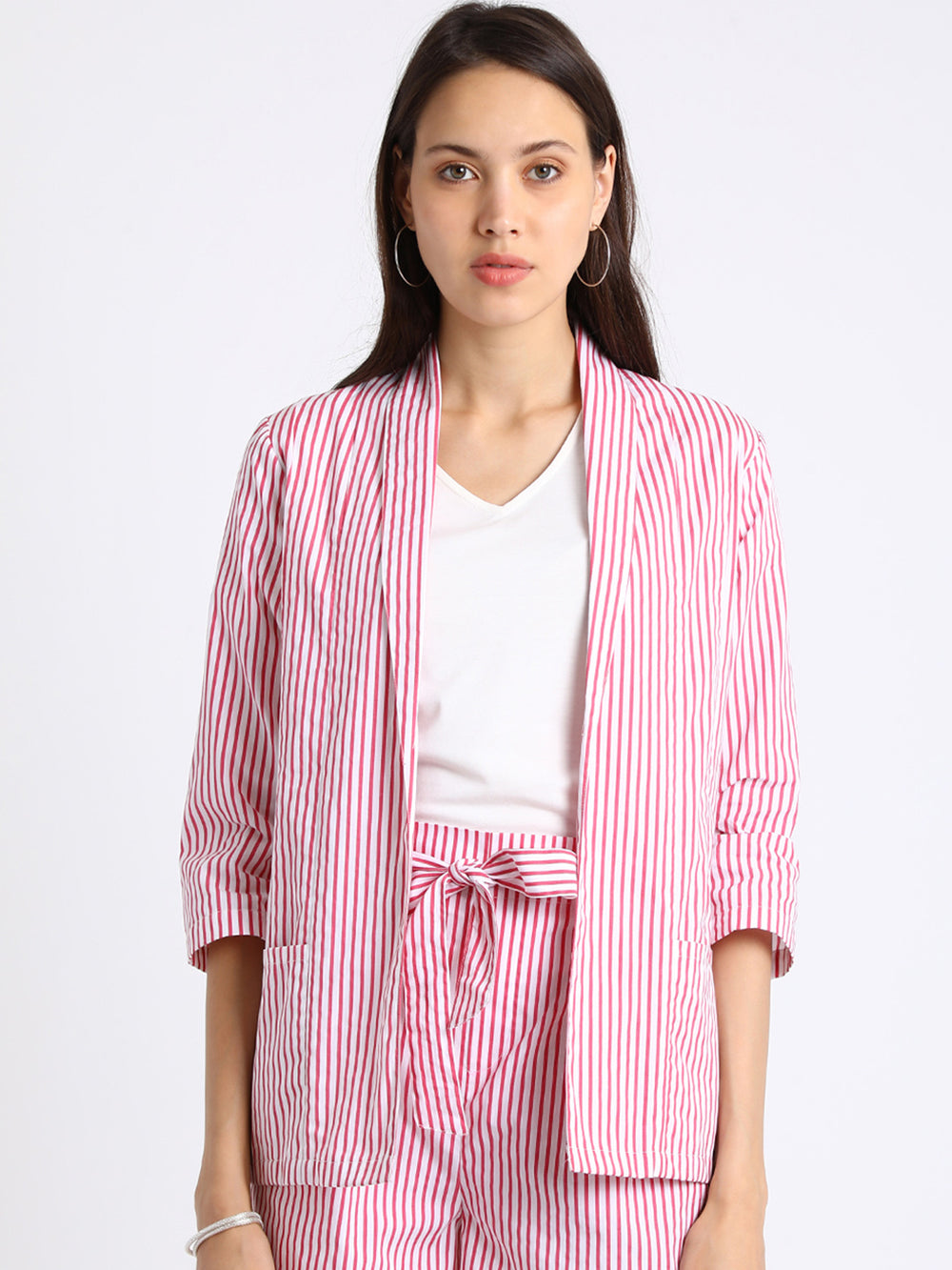 Besiva White & Red Striped Open Front Shrug