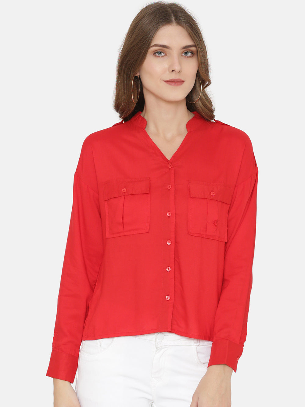 eyelet Women Red Comfort Slim Fit Solid Casual Shirt
