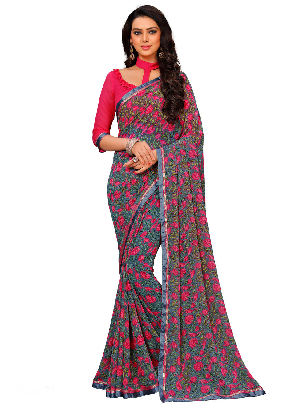 Roop Kashish Women Multi-Coloured Party Wear Georgette Printed Saree With Border And Georgette Blouse Material._RKAM7015