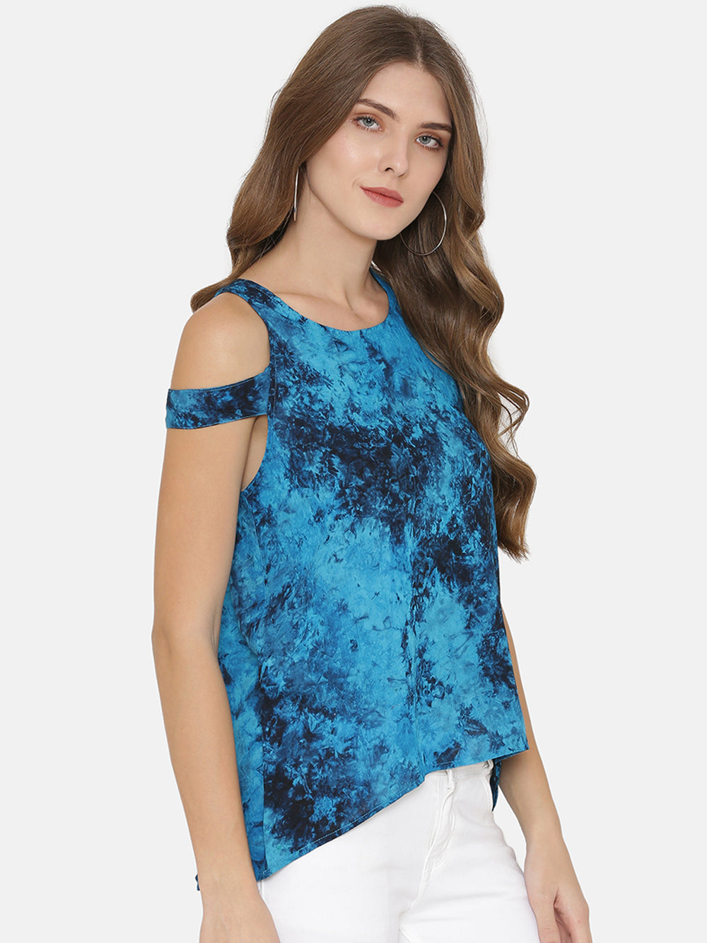 eyelet Women Blue Dyed High-Low Top