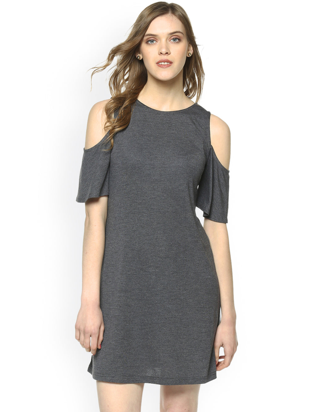 Besiva Women Grey Solid A-Line Dress