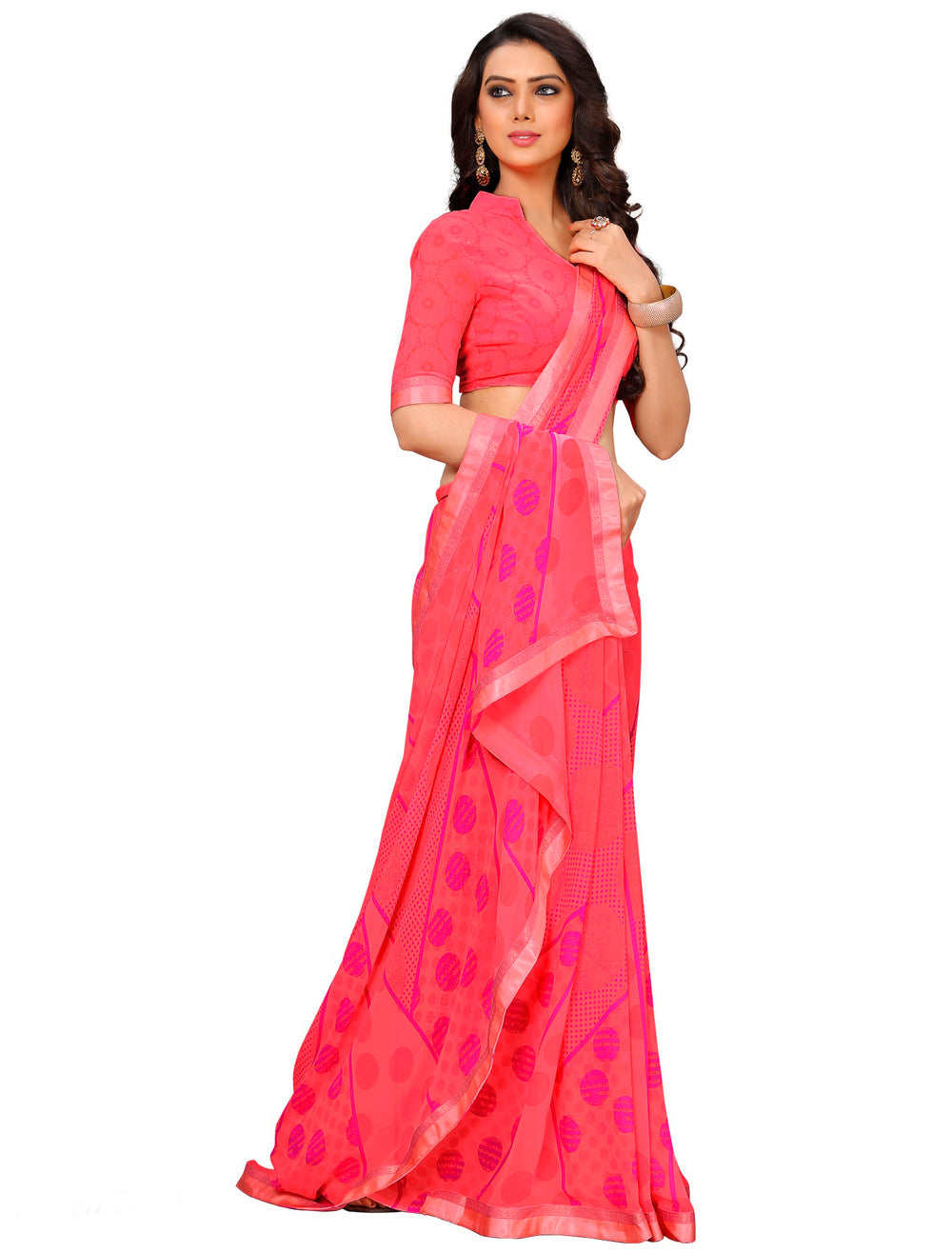 Roop Kashish Women Pink Party Wear Georgette Printed Saree With Border And Georgette Blouse Material._RKAM7010