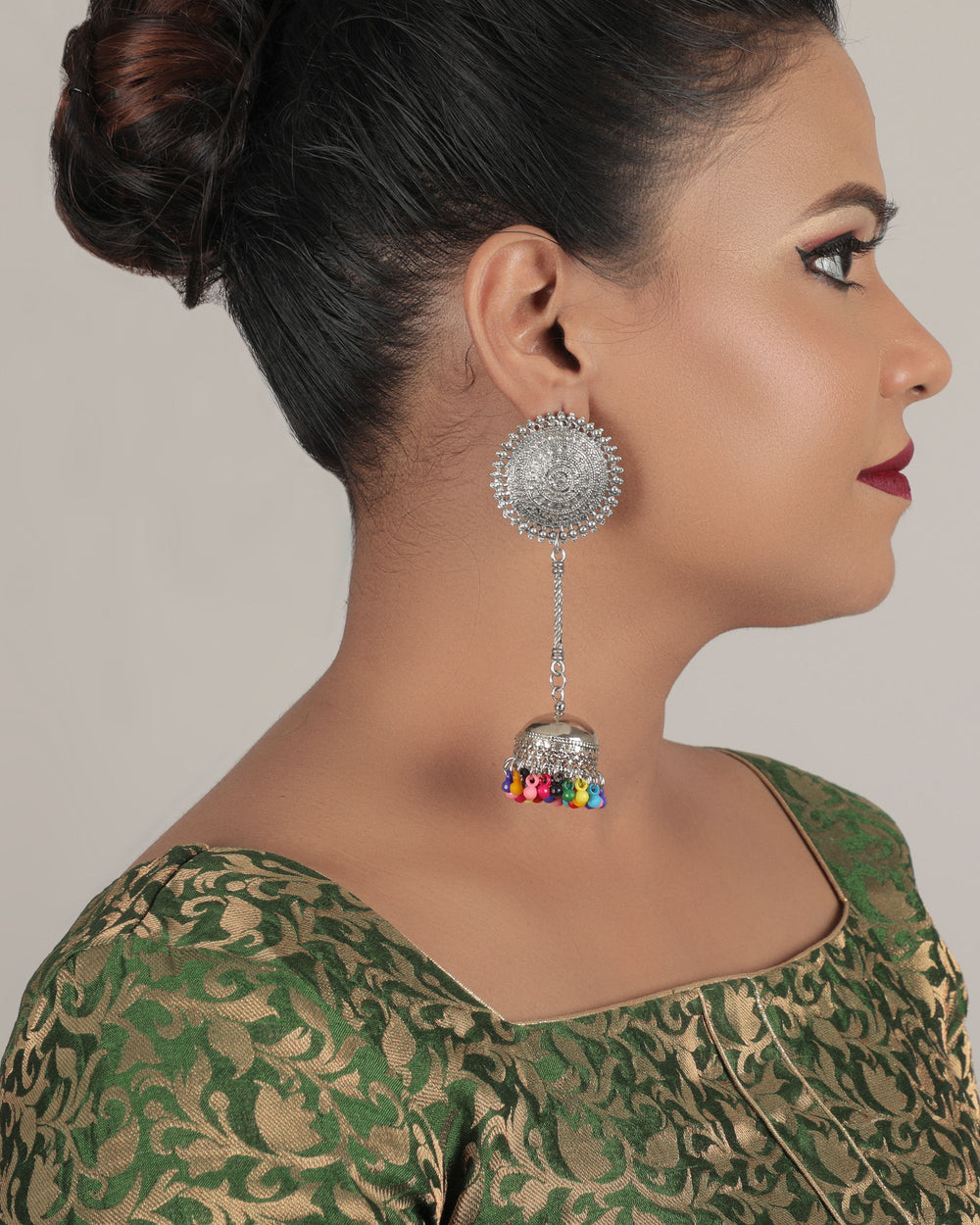 Multicoloured Silver-Plated Beaded Handcrafted Circular Half Hoop Earrings