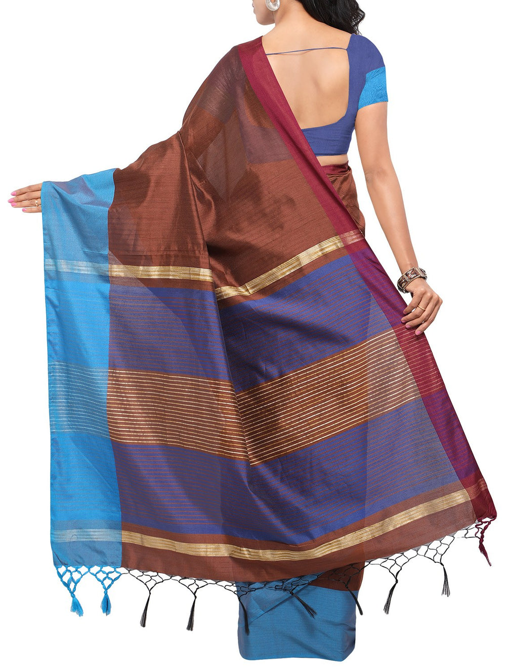 brown handloom saree with blouse