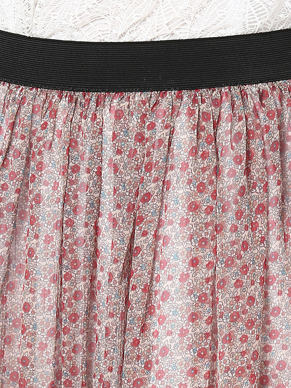 Besiva Pink Printed Flared Skirt