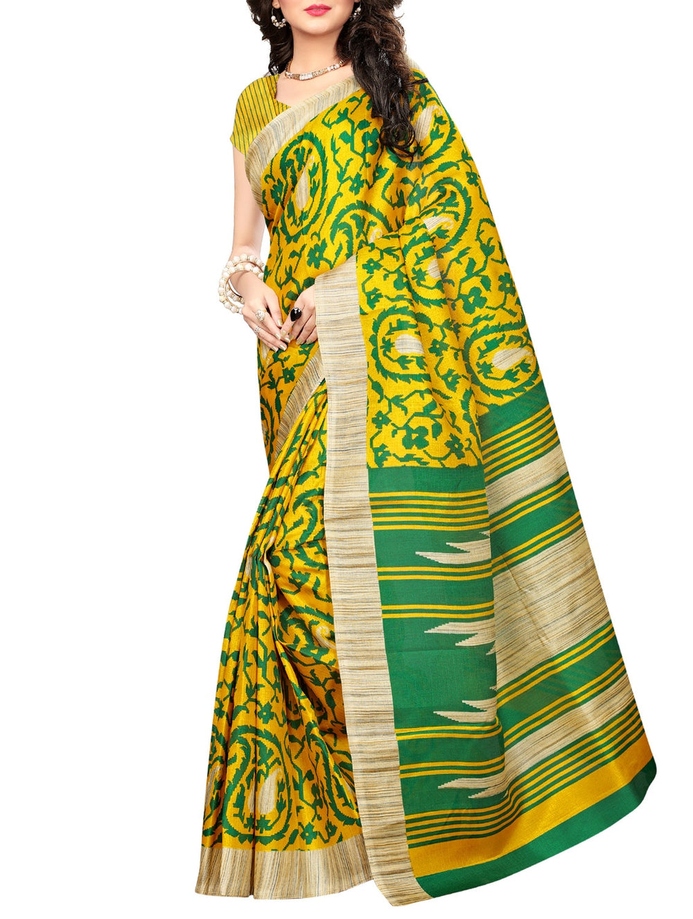 yellow khadi printed saree with blouse