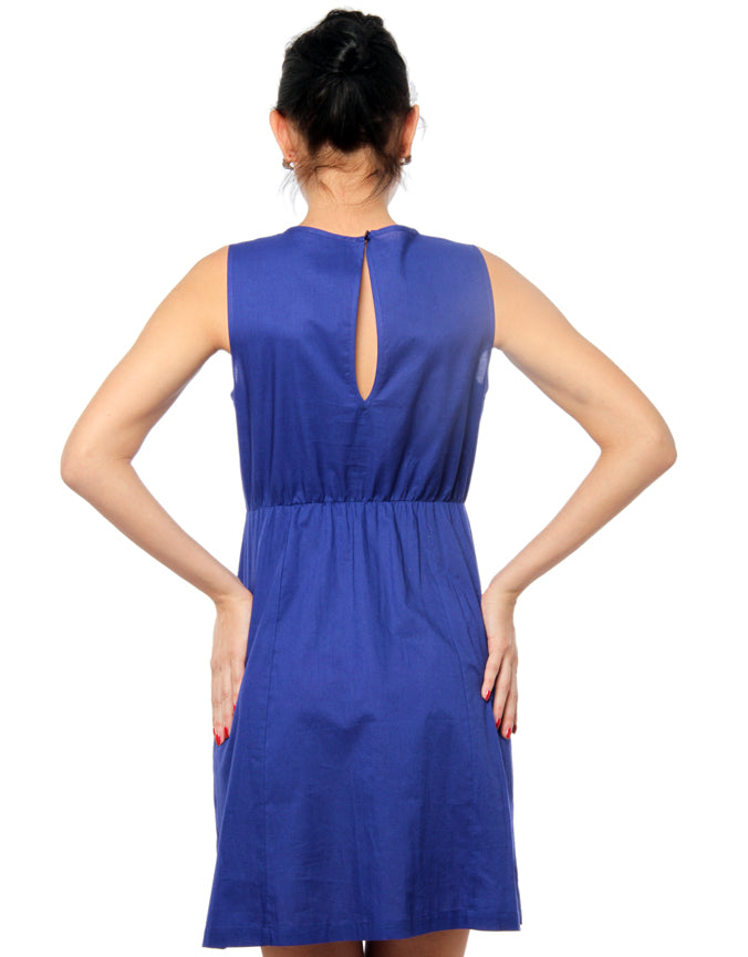 Front Pleated Dress Blue