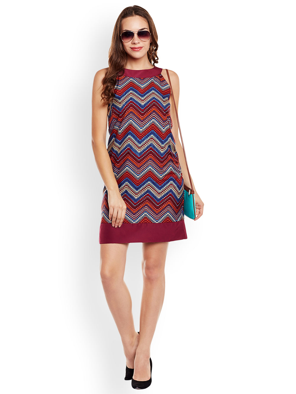 eyelet Women Maroon Printed Sheath Dress