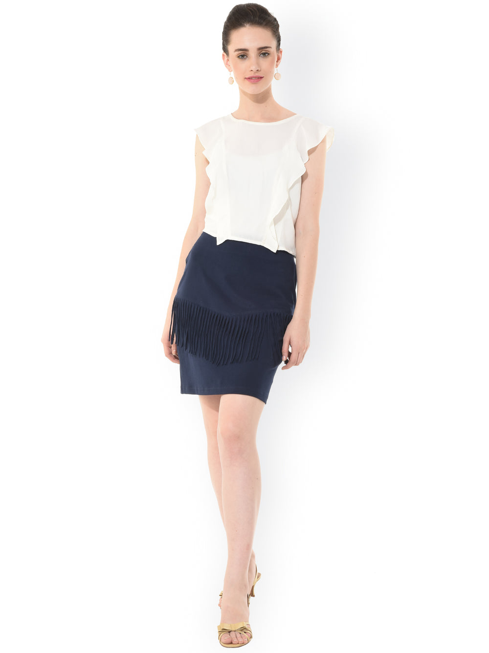 Besiva Navy Fringe Pencil Skirt