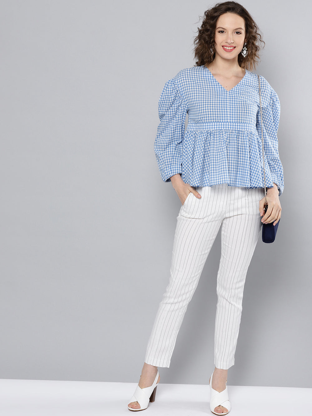 Besiva Women Blue & White Checked A-Line Top