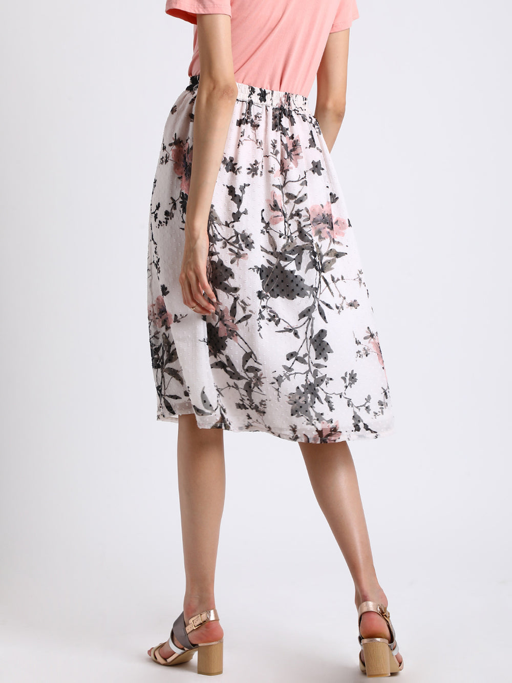 Besiva Women White & Grey Floral Print A-Line Skirt