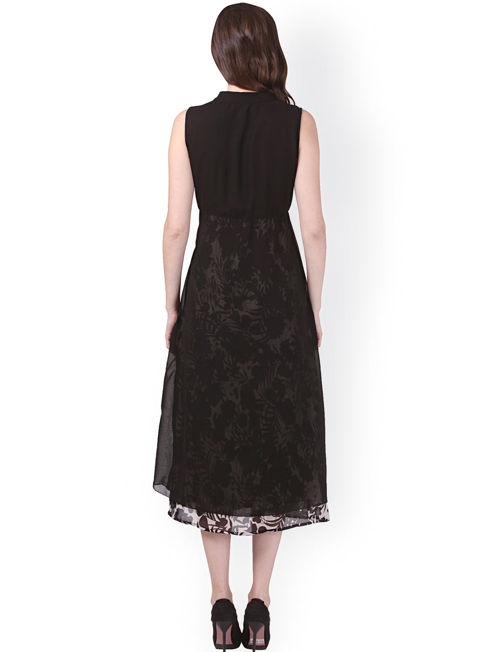 eyelet Black Printed Midi Dress