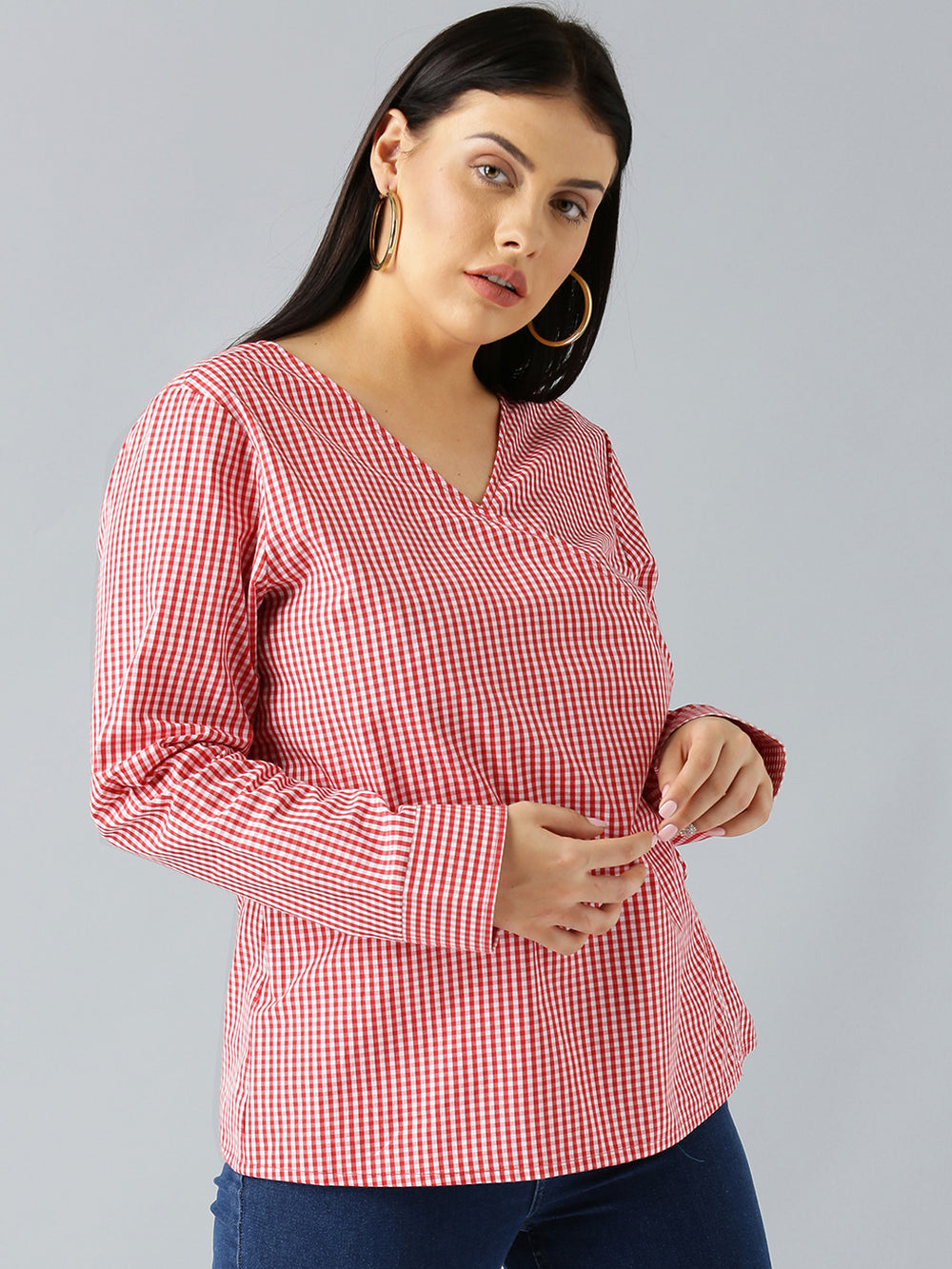 Besiva Women Red Checked Wrap Top