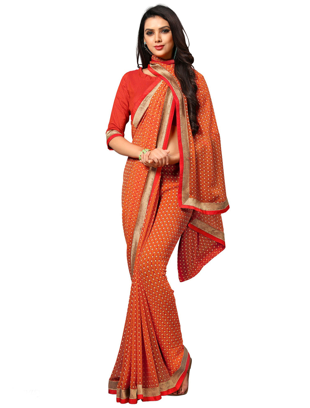 Roop Kashish WomenOrange Party Wear Georgette Printed Saree With Border And Georgette Blouse Material_RKAM8022
