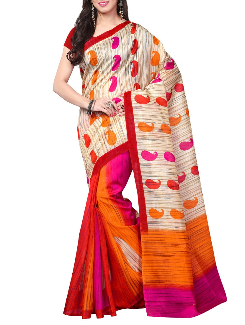 multi art silk printed saree with blouse