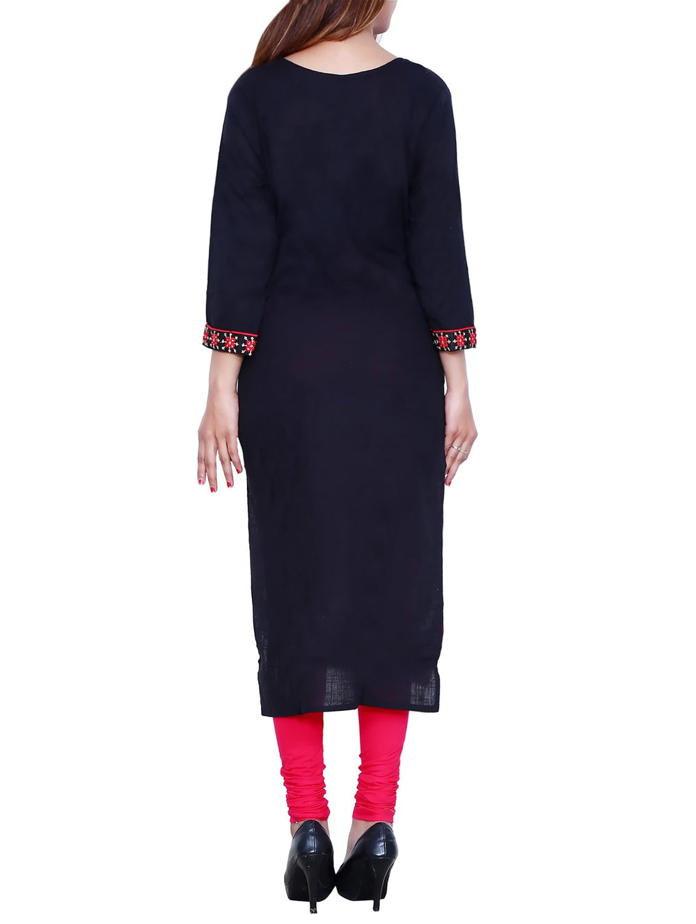 Black cotton embroidered straight kurta