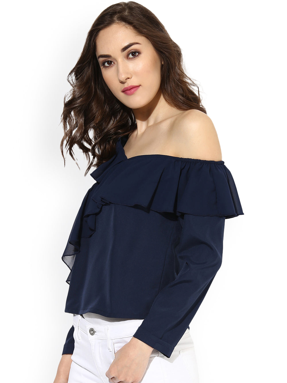 Besiva Women Navy Blue Solid One-Shoulder Top