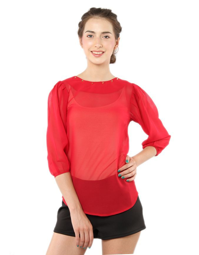 Studded Round Neck Top Red