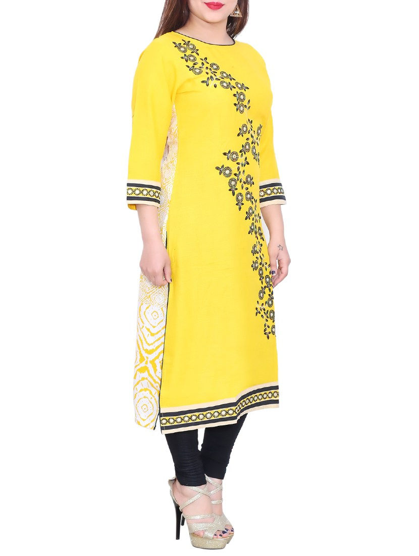 yellow rayon embroidered straight kurta