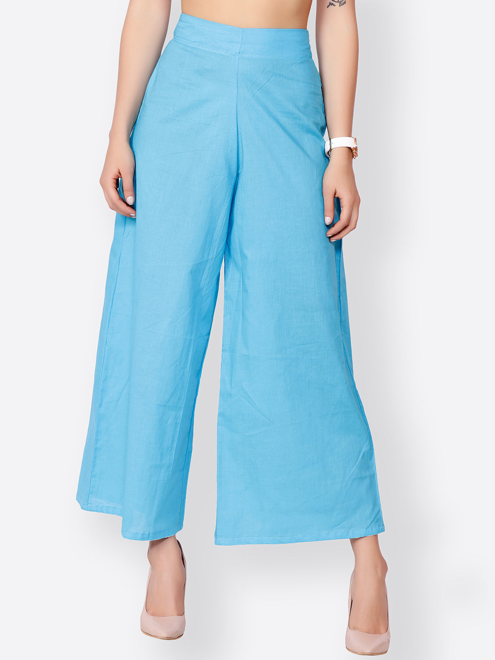 SCORPIUS Women Blue Wide Leg Solid Palazzos