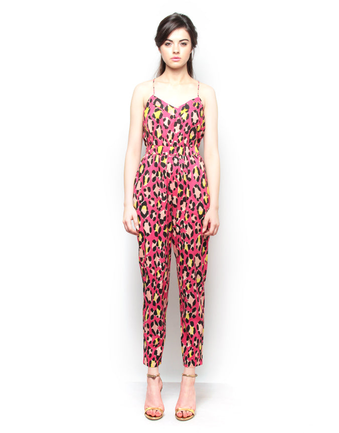 Strappy Printed Cotton Jumpsuit