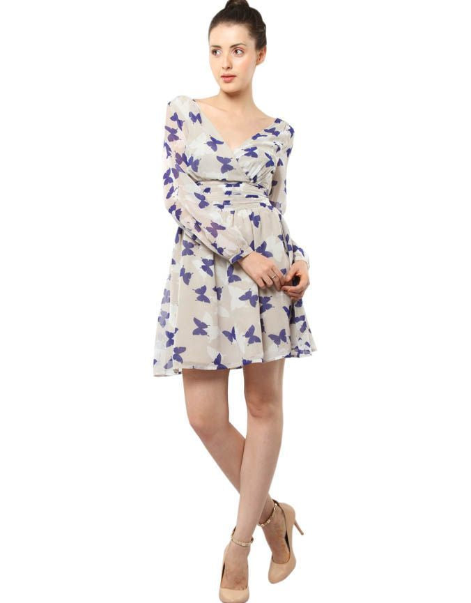 Printed Skater Dress With Long Sleeves