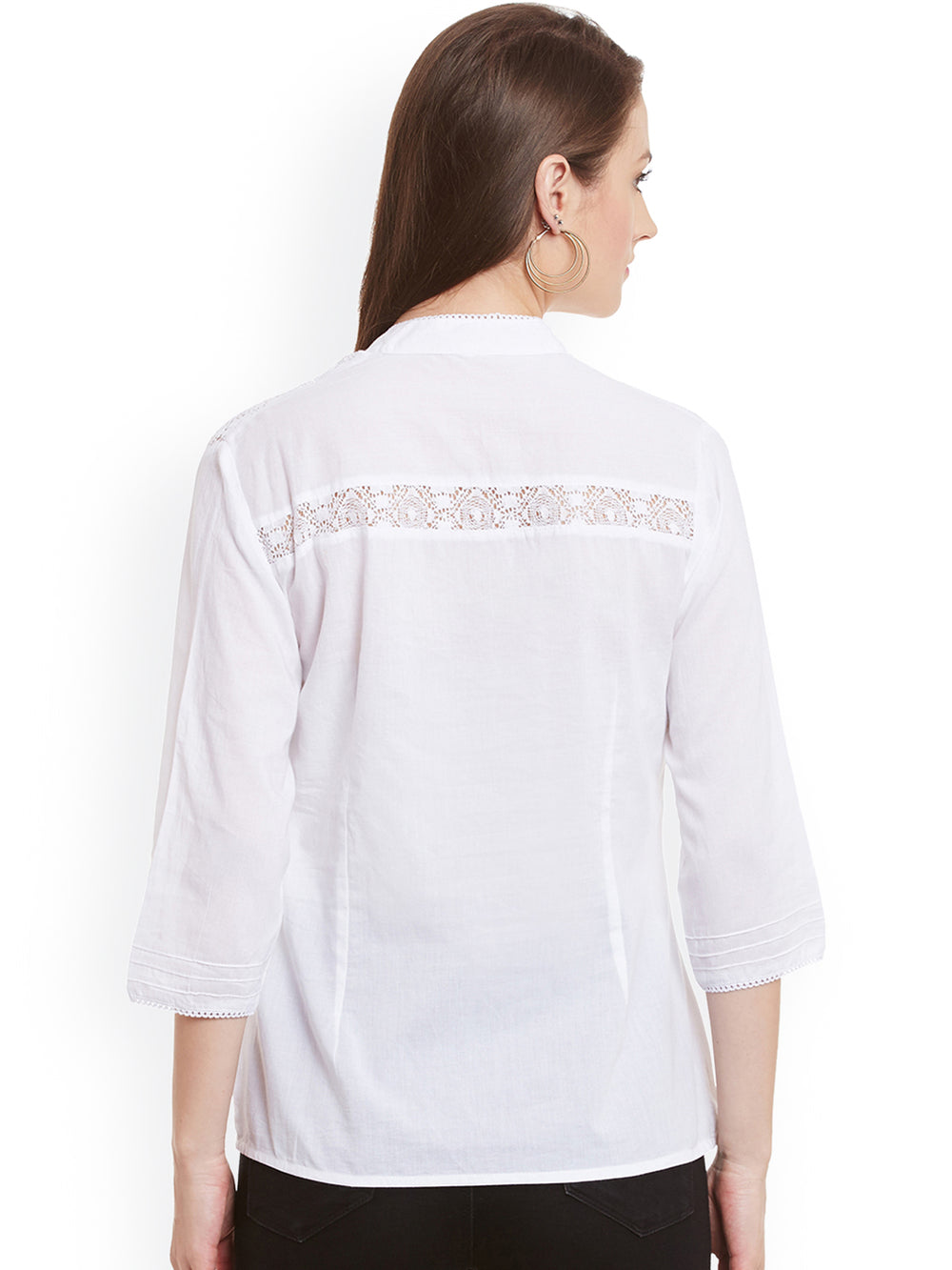 eyelet Women White Regular Solid Casual Shirt