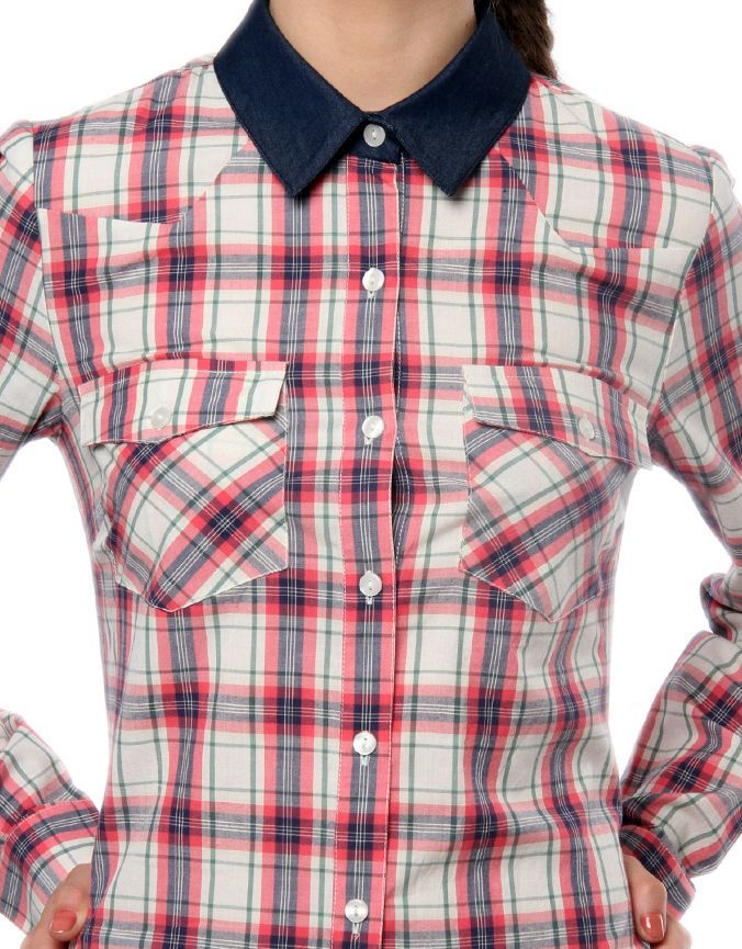 Denim Collar Check Shirt