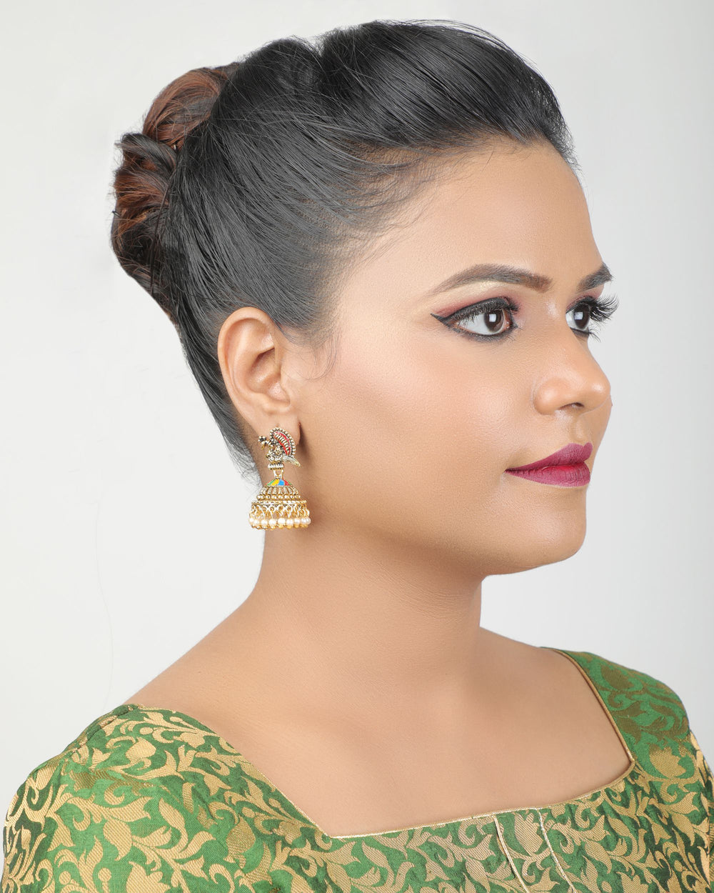 Oxidised Gold-Plated Peacock-Shaped Jhumkas