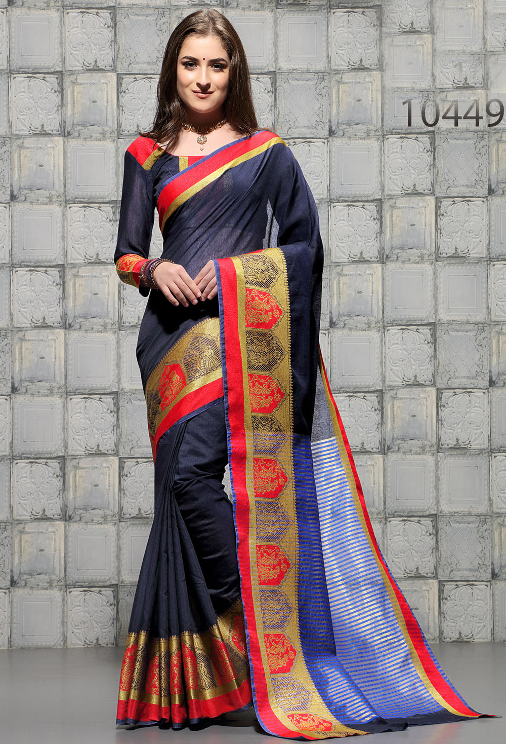 Roop Kashish Women Blue Party Wear woven Cotton Printed Saree And Border And Cotton Blouse Material_RKSCSUNAHARI10449