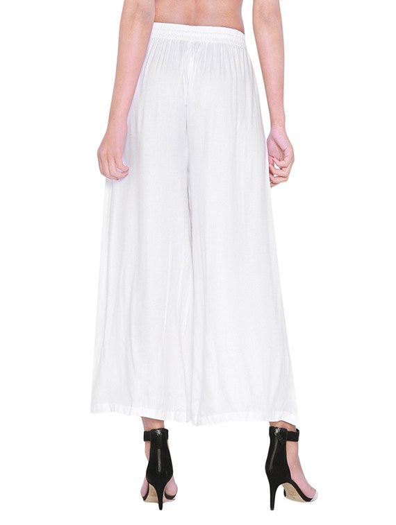 white solid rayon palazzo