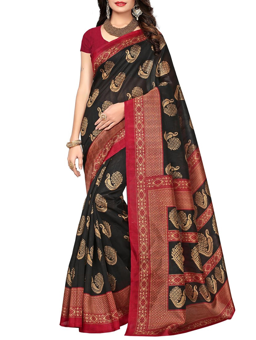 black cotton silk bhagalpuri saree with blouse
