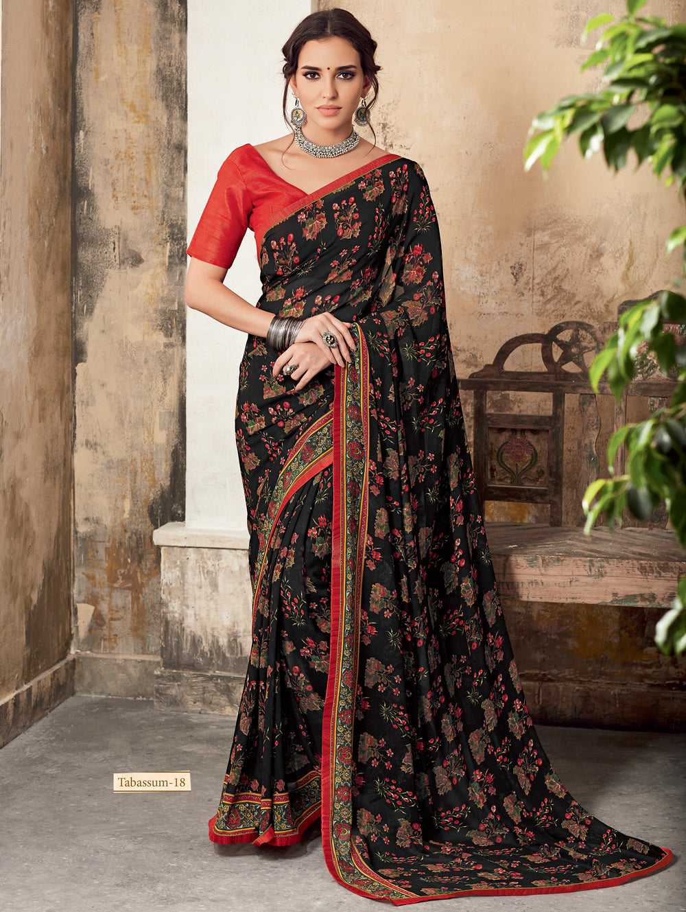 Roop Kashish Women Black Party Wear Georgette Printed Saree With Border And Georgette Blouse Material_RKSCTABASSUM18