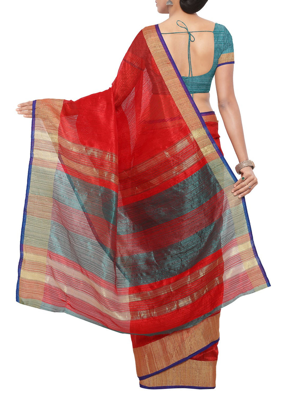 Red handloom saree with blouse