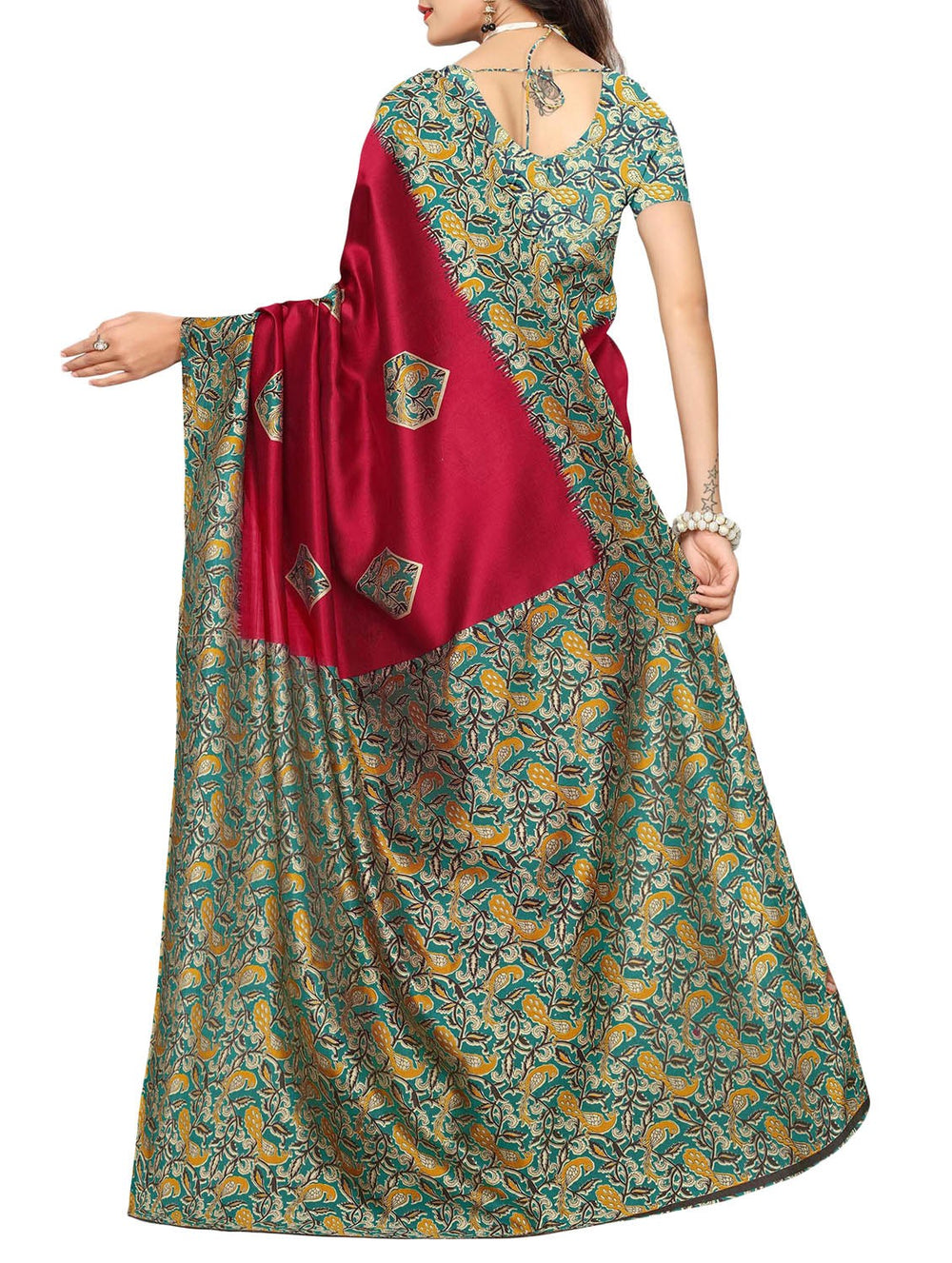 maroon mysore silk saree with blouse