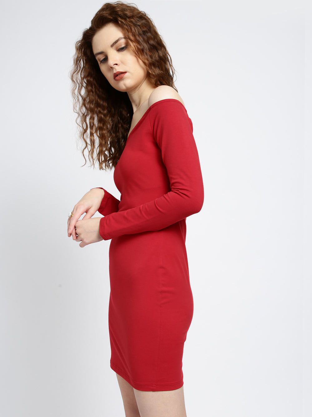 Besiva Women Red Solid Bodycon Dress