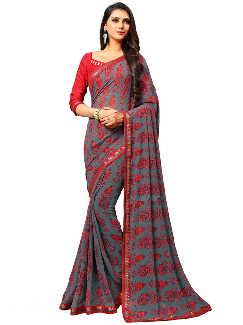 Roop Kashish Women Grey Party Wear Georgette Printed Saree With Border And Georgette Blouse Material_RKAM8029