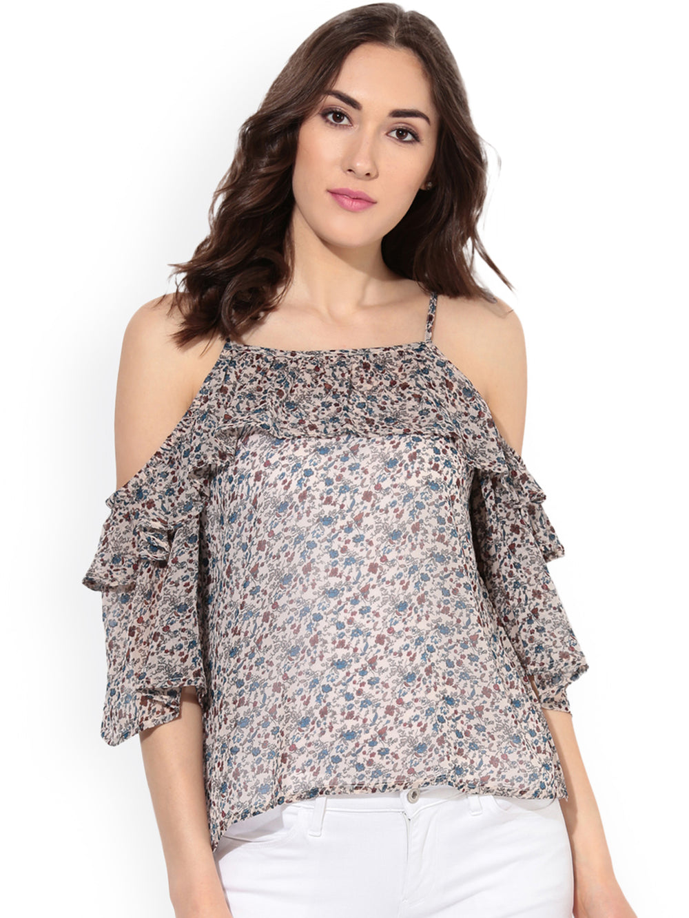 Besiva Women Multicoloured Floral Print Cold Shoulder Top