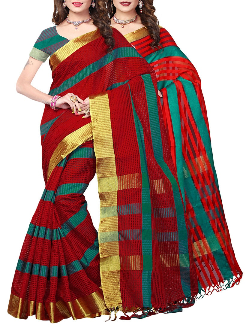 Red polysilk combos saree with blouse
