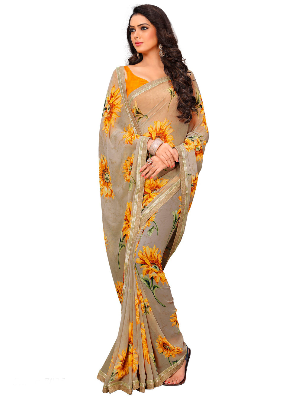 Roop Kashish Women Beige Party Wear Georgette Printed Saree With Border And Georgette Blouse Material._RKAM7025
