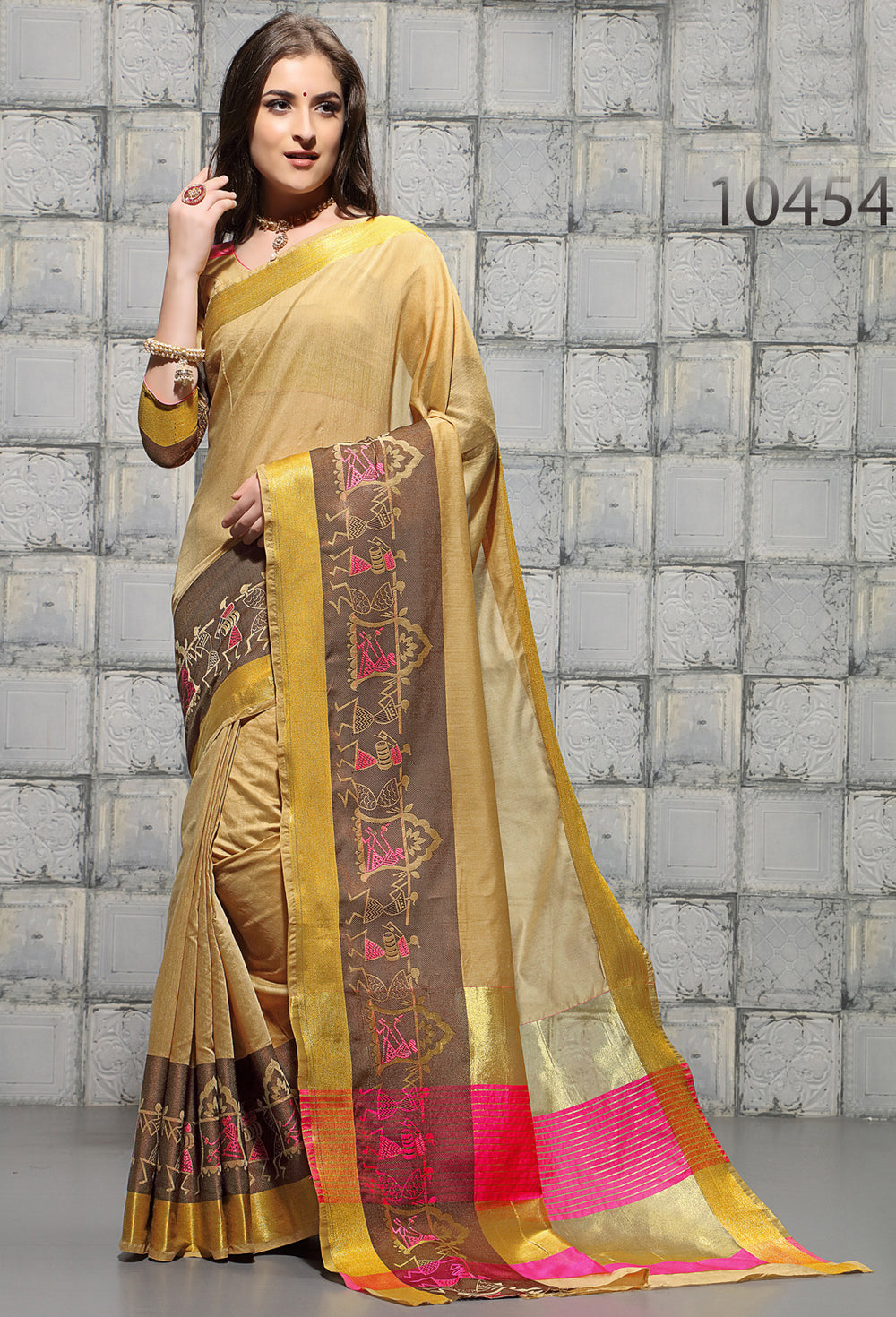 Roop Kashish Women Gold Party Wear woven Cotton Printed Saree And Border And Cotton Blouse Material_RKSCSUNAHARI10454
