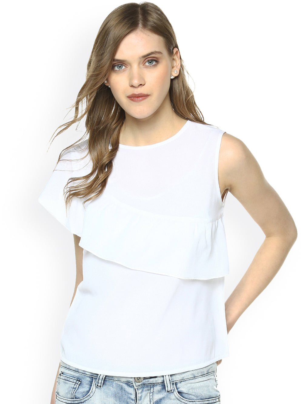 Besiva Women White Solid Layered Top