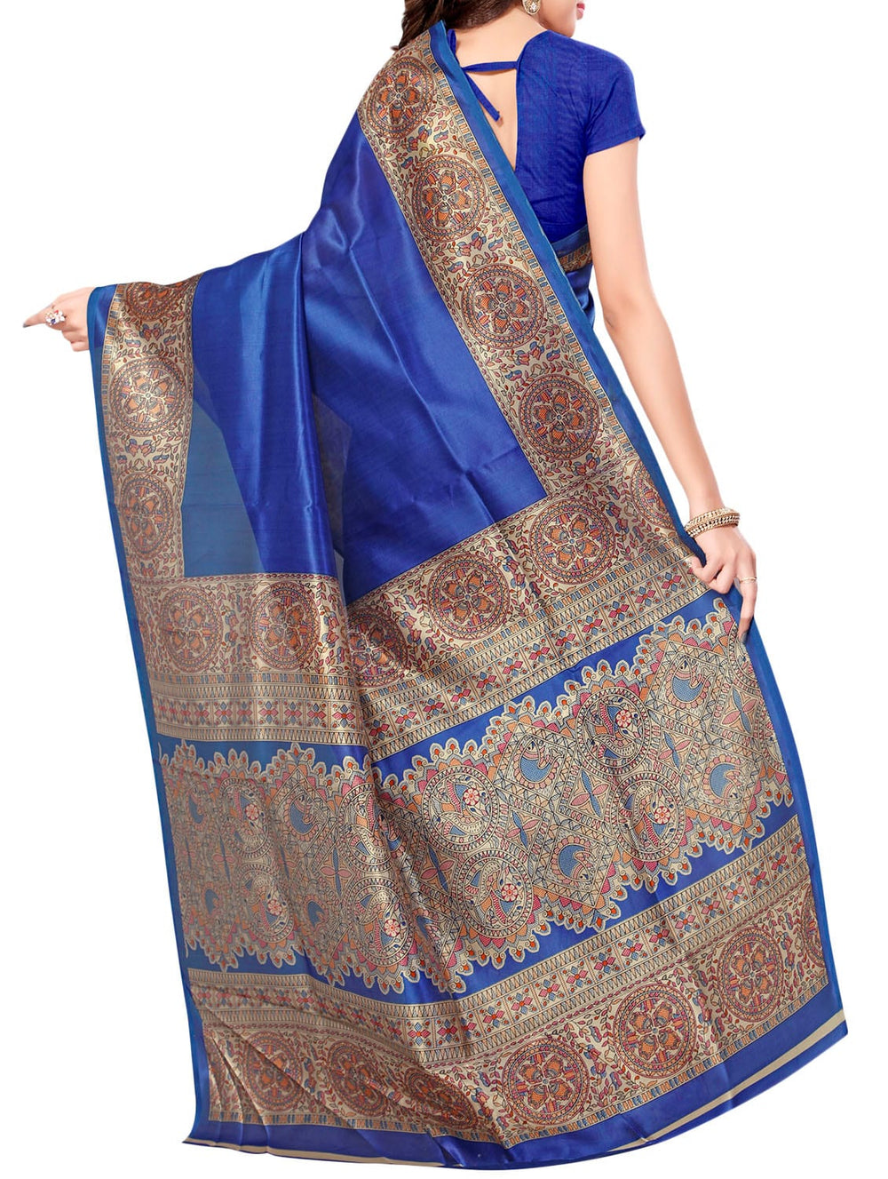 blue silk blend mysore saree with blouse