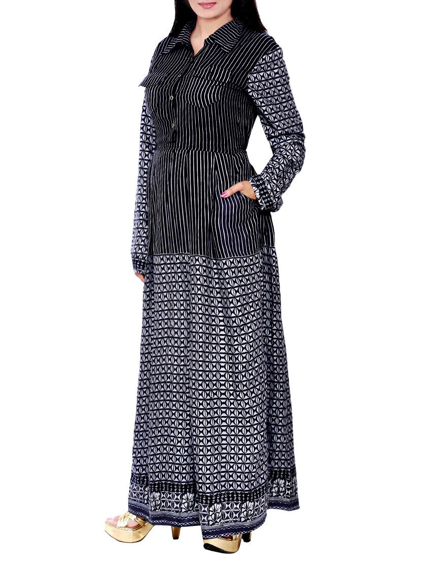 black rayon flared kurta