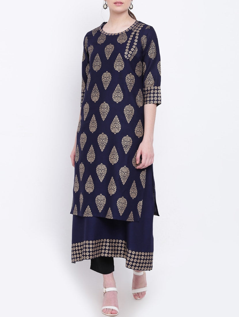 blue rayon layered kurta