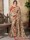 Roop Kashish Women Beige Party Wear Georgette Printed Saree With Border And Georgette Blouse Material_RKSCTABASSUM22